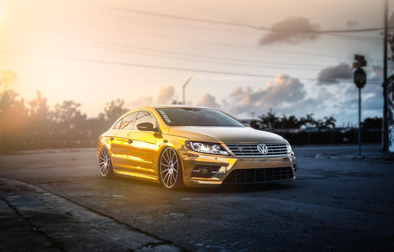 Photo wallpaper volkswagen, gold, gold, tuning, front, Volkswagen, passat, Passat