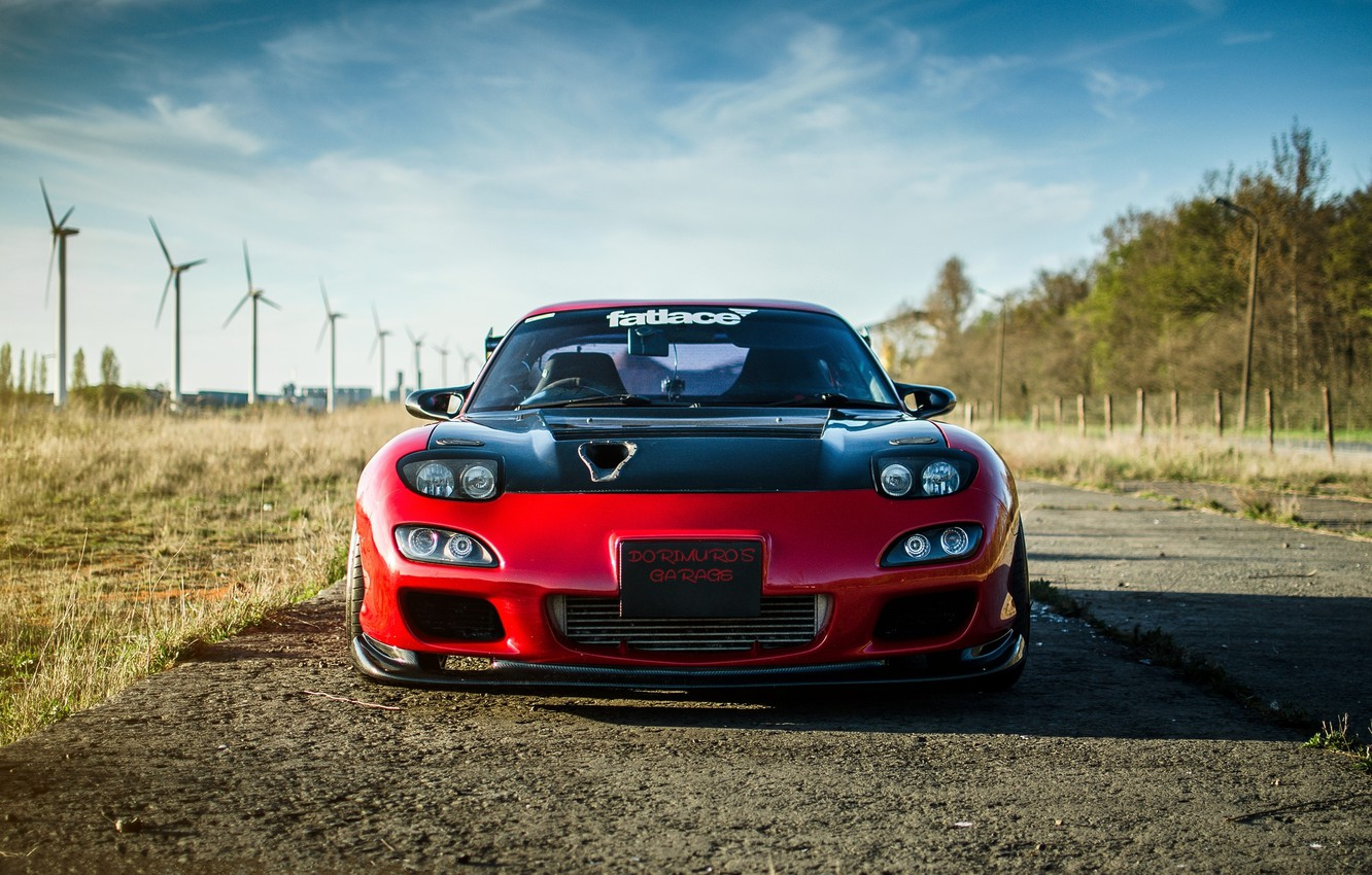 Photo wallpaper the sky, clouds, red, red, mazda, the front, Mazda, rx-7, wind turbines