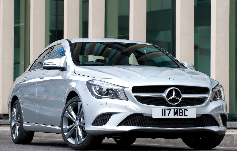 Photo wallpaper Mercedes-Benz, silver, front view, Mercedes, CLA 180