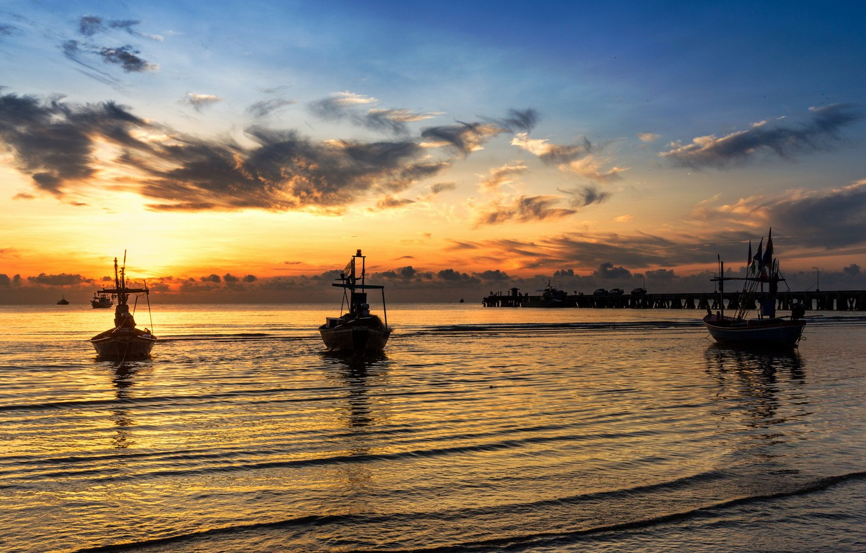 Photo wallpaper sea, landscape, sunset, boats