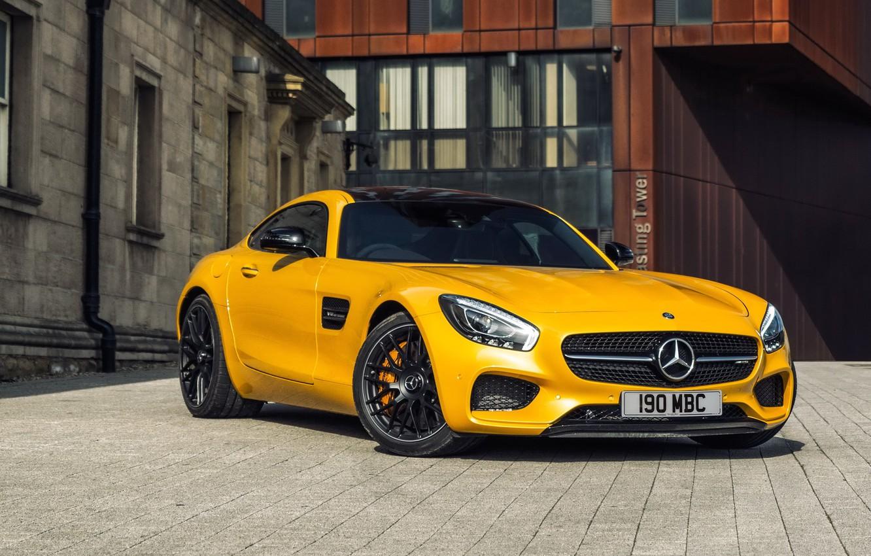 Photo wallpaper Mercedes-Benz, AMG, Yellow, 2015, GT S