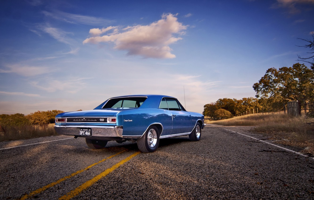 Photo wallpaper road, the sky, clouds, the fence, field, Chevrolet, wheel, back, 1966, Chevelle, side, tail lights, …