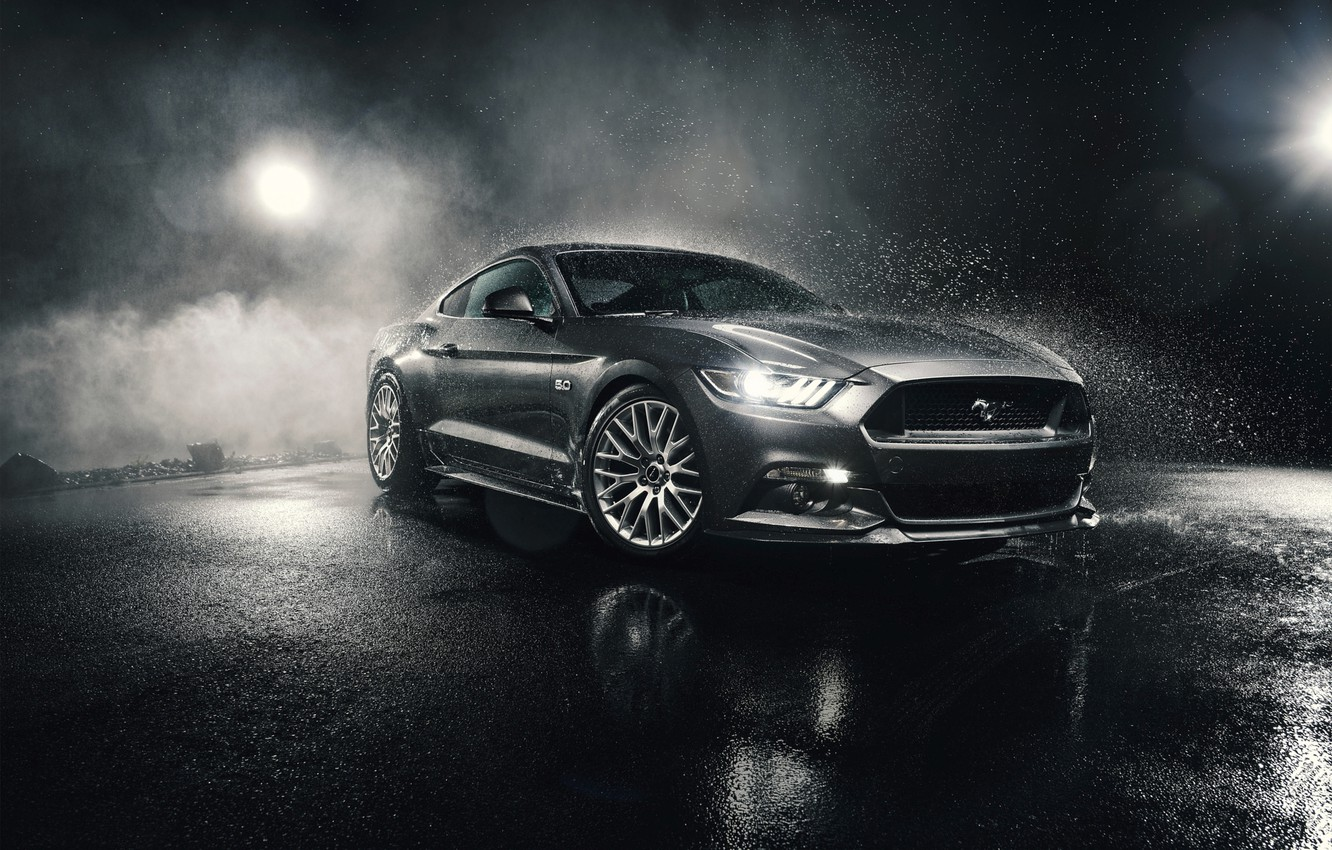 Photo wallpaper Mustang, Ford, Front, 5.0, Silver, Musle, Watersplash