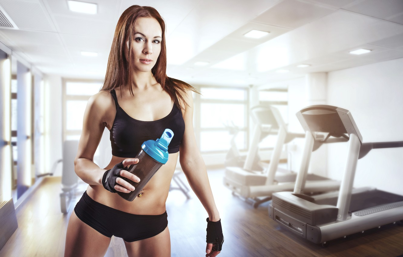 Photo wallpaper woman, gym, sportswear, physical activity, sports drinks