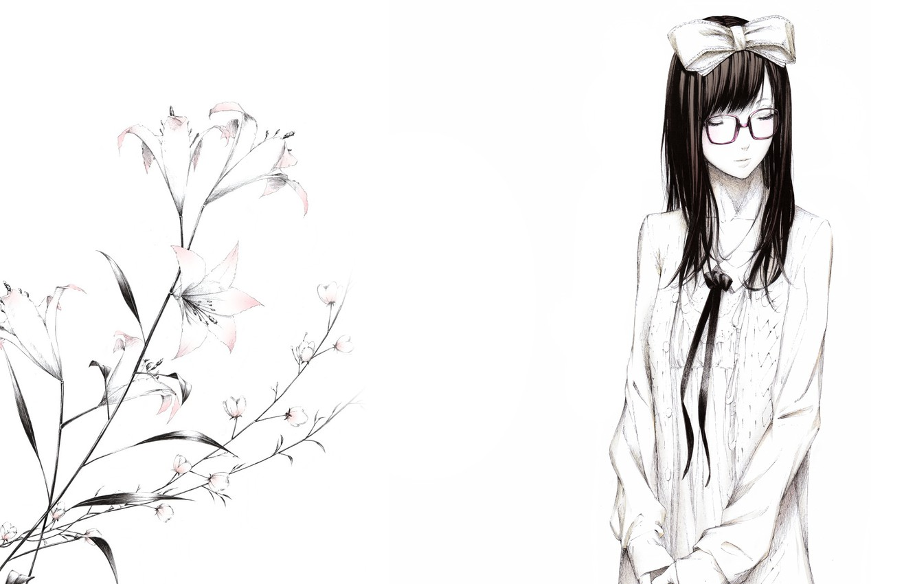 Photo wallpaper flowers, figure, Lily, Girl, glasses, bow, art, Sawasawa