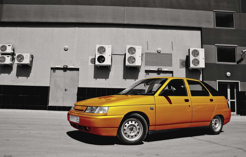 Photo wallpaper auto, orange, VAZ, Lada, Deniska, VAZ 2112