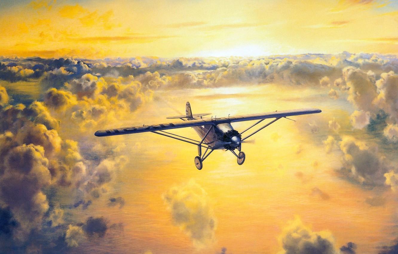 Photo wallpaper the sky, the sun, clouds, figure, Paris, pilot, the plane, New York, single, through, Atlantic, …