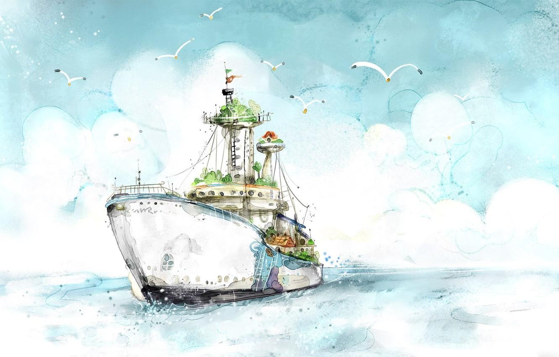Photo wallpaper Figure, Ship, Seagulls