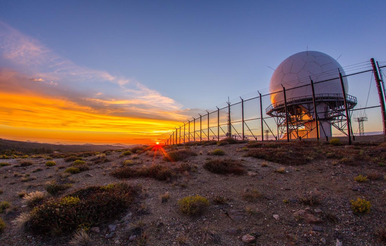 Photo wallpaper landscape, sunset, radar