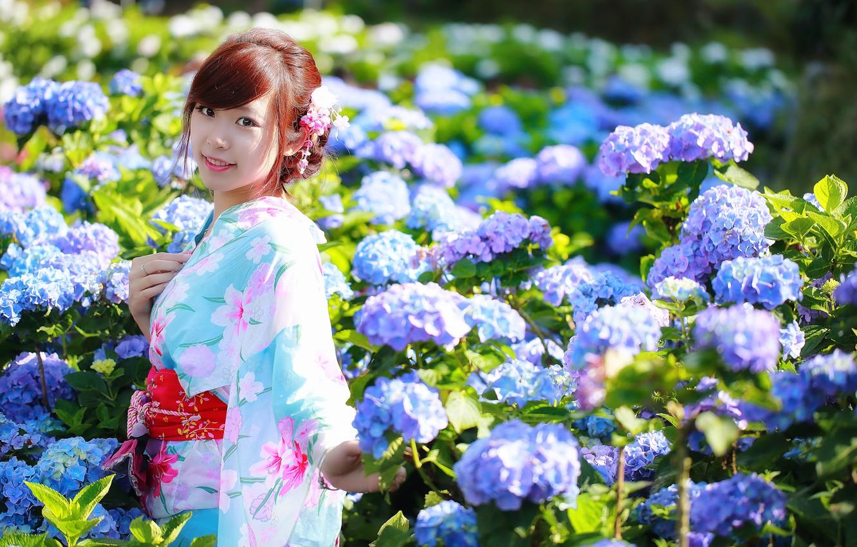 Photo wallpaper summer, flowers, smile, Asian