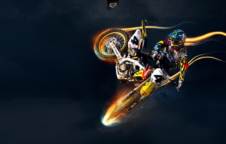 Photo wallpaper Jump, Helmet, Flight, Motocross, Motorcyclist, SUZUKI