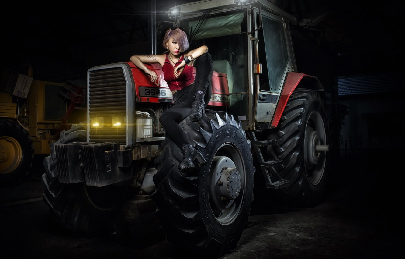 Photo wallpaper girl, background, tractor