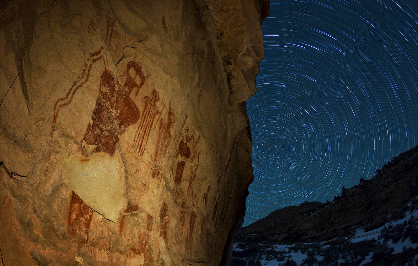 Photo wallpaper stars, night, Utah, USA, the cycle, state, petroglyphs, sego canyon, we can more, rock paintings, …