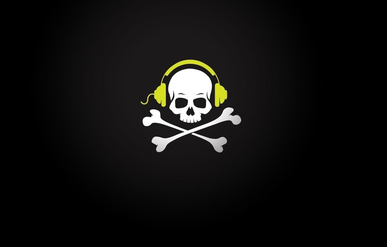 Wallpaper skull, music, headphones, bones, wire, sake