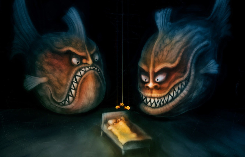 Photo wallpaper fear, figure, Fish