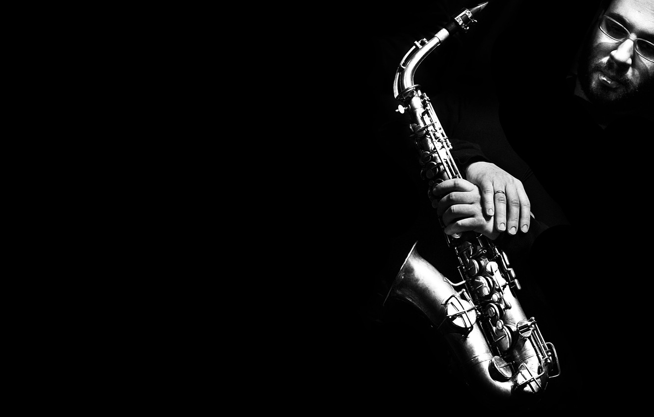 Photo wallpaper face, b/W, Saxophone, black background, musical instrument, black and white, Saxophone, man.hands