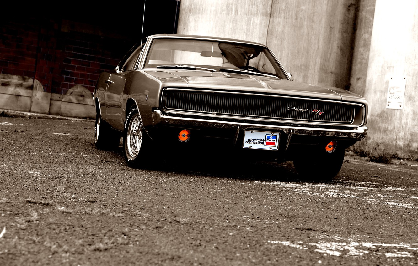 Photo wallpaper glass, reflection, shadow, muscle car, Dodge, dodge, charger, r/t, the front, 1968, the charger