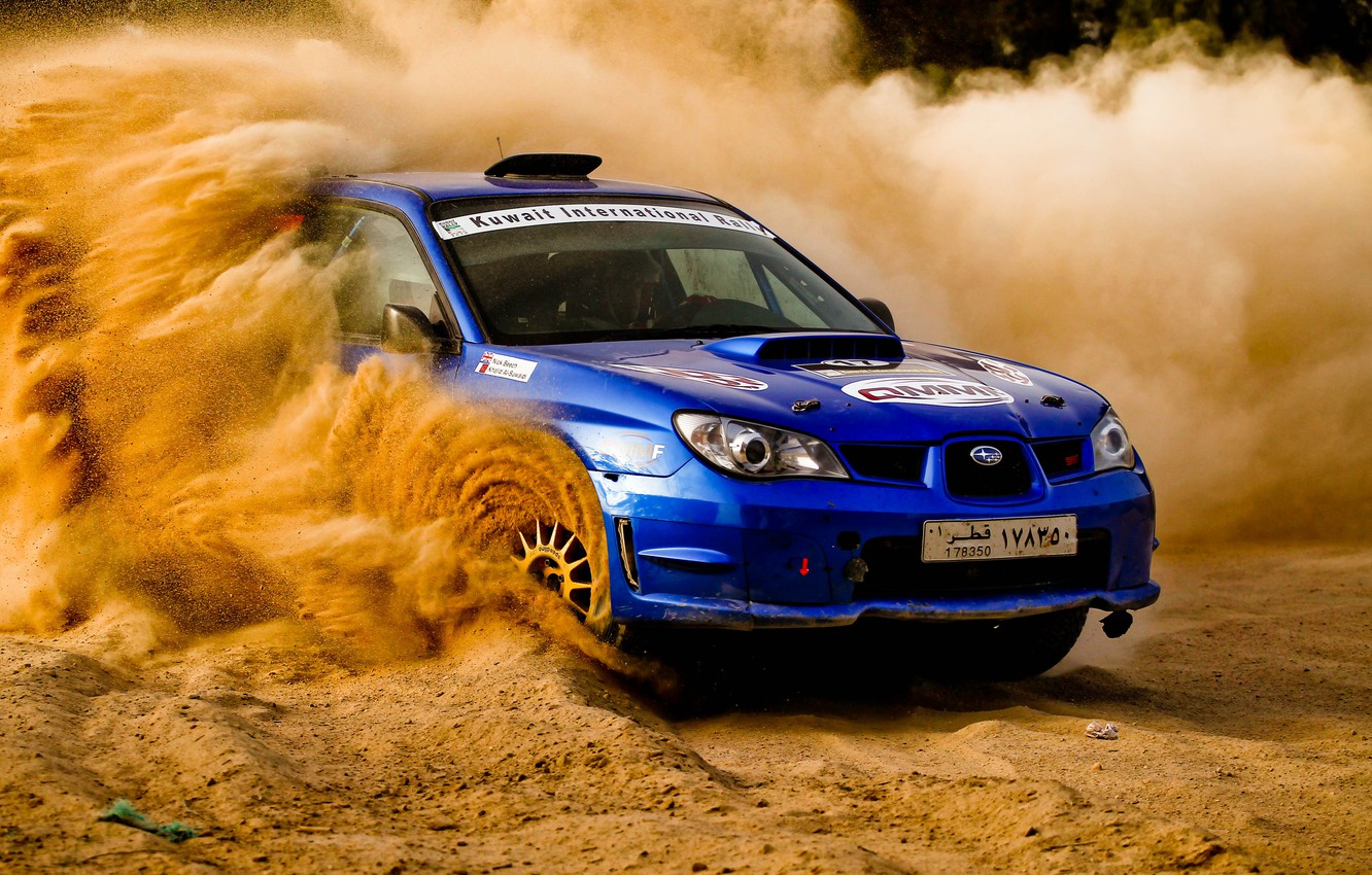 Photo wallpaper sand, Subaru, Impreza, rally, blue, Subaru, Impreza, STi