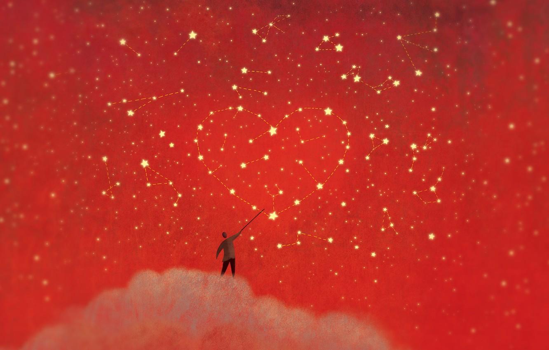 Photo wallpaper stars, heart, people, minimalism, cloud, constellation