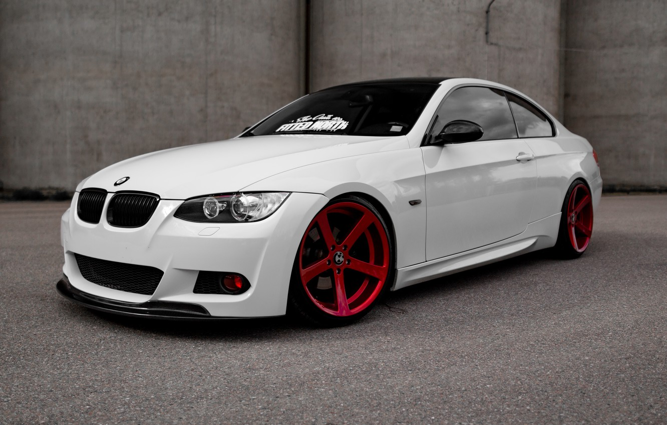 Photo wallpaper BMW, Red, White, E92, Wheels