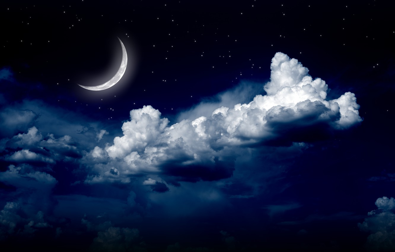 Photo wallpaper the sky, stars, clouds, landscape, night, nature, the moon, moon, sky, landscape, nature, night, clouds, …