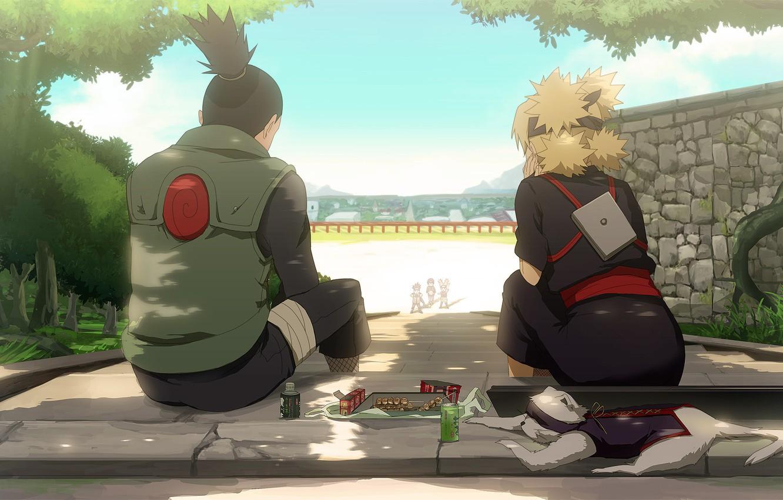 Photo wallpaper naruto, anime, art, Temari, Shikamaru, weasel, konohagakure no sato