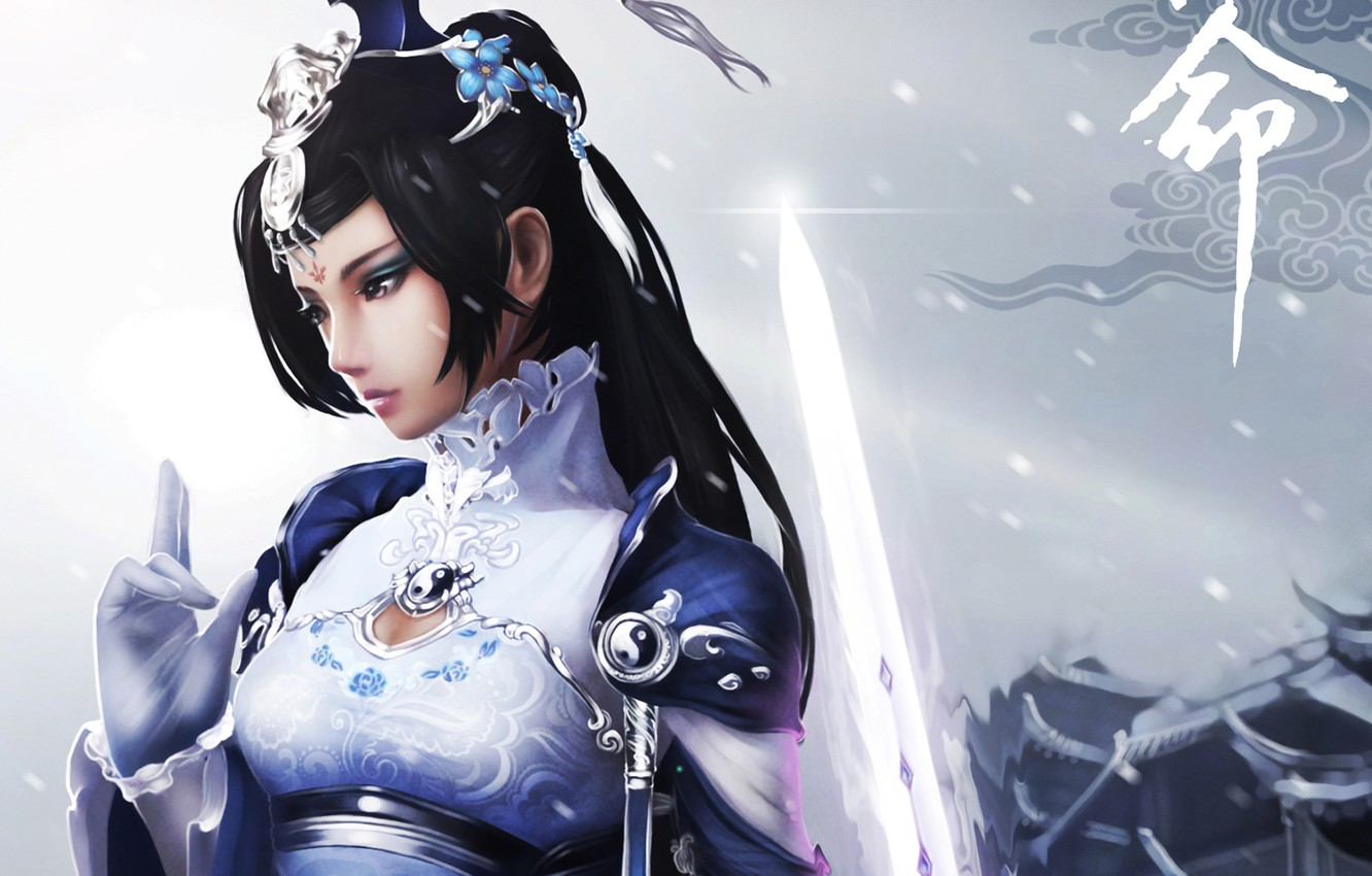 Photo wallpaper girl, snow, sword, art, Yin Yang, jx online 3, monkey buonarroti