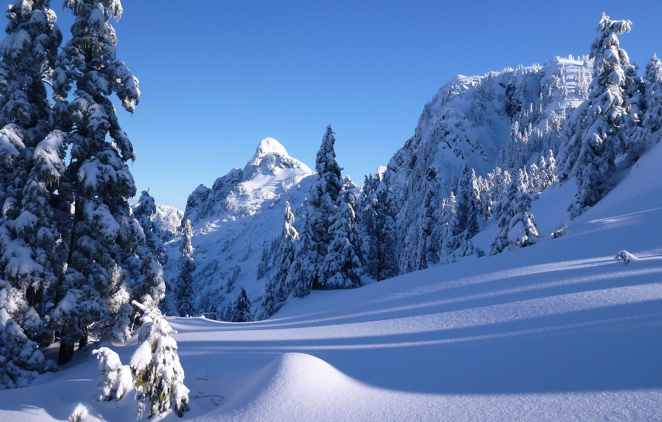 Photo wallpaper winter, snow, trees, mountains, ate, Canada, the snow, Vancouver, Canada, British Columbia, Vancouver, British Columbia, …