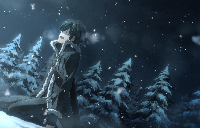 Photo wallpaper winter, snow, night, nature, spruce, anime, art, guy, yuuki tatsuya, sword art online, kirigaya kazuto