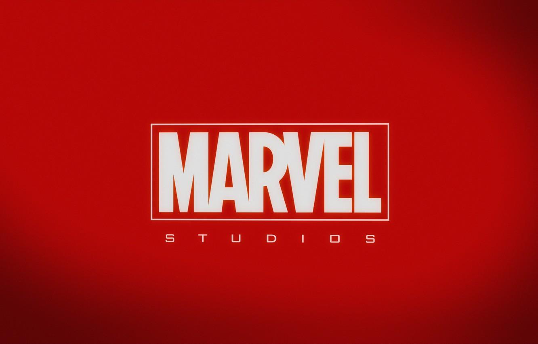 Photo wallpaper red, logo, background, Marvel, MARVEL