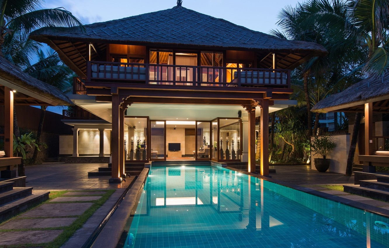 Wallpaper Villa The Evening Pool Bali Indonesia Luxury Bali Hotels Images For Desktop Section Gorod Download