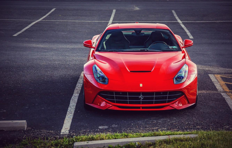 Photo wallpaper Ferrari, Ferrari, Red, Parking, Front, Supercar, Before, Parking, Supercar, Berlinetta, Berlinetta, F12