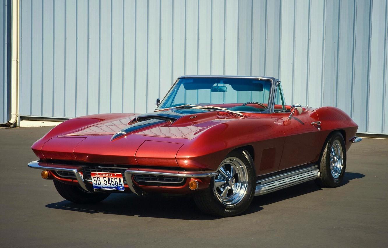 Photo wallpaper red, convertible, classic, chevrolet corvette