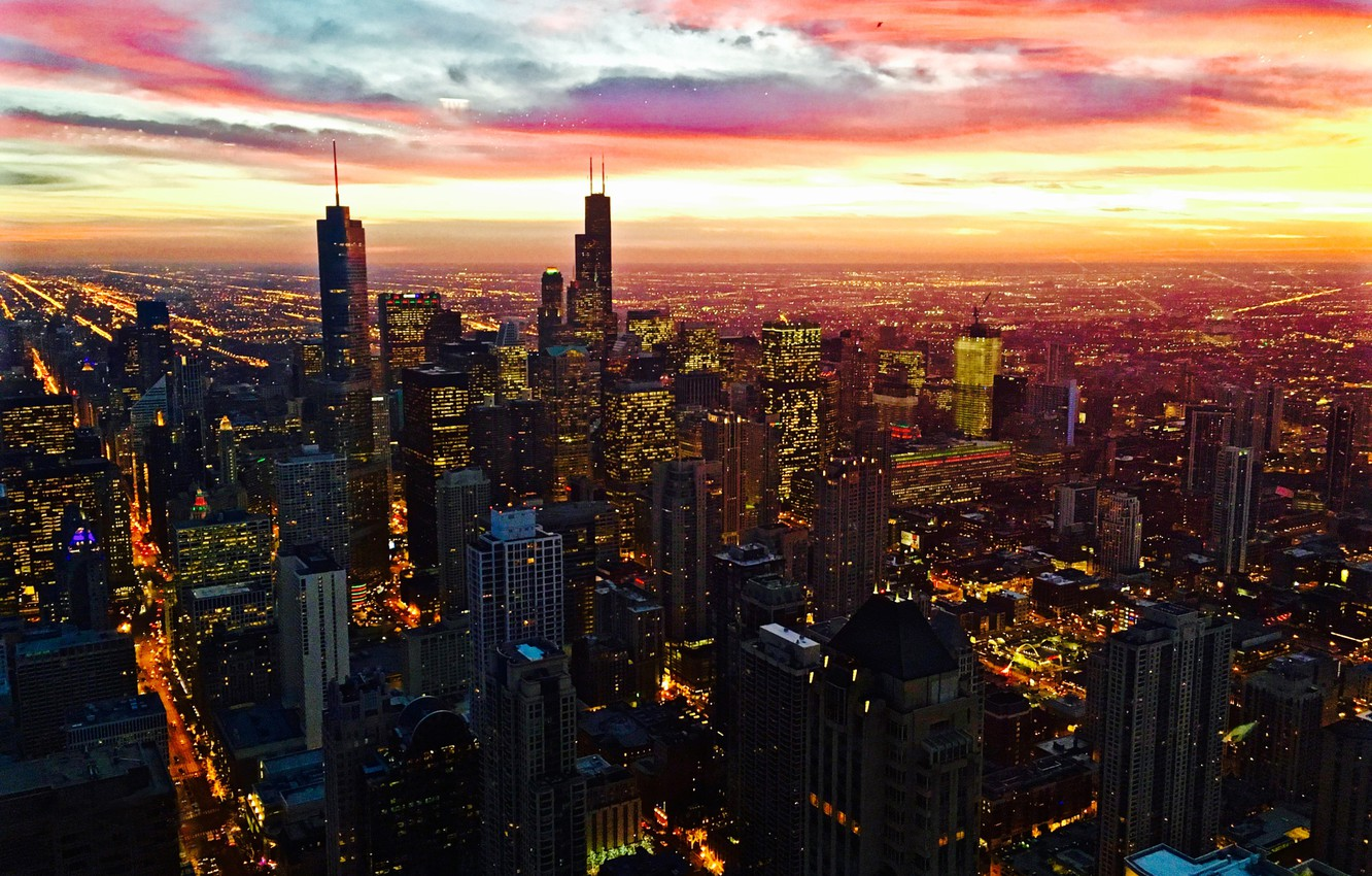 Photo wallpaper City, Red, Clouds, Sky, Chicago, Sunset, Street, Skyline, Architecture, Homes