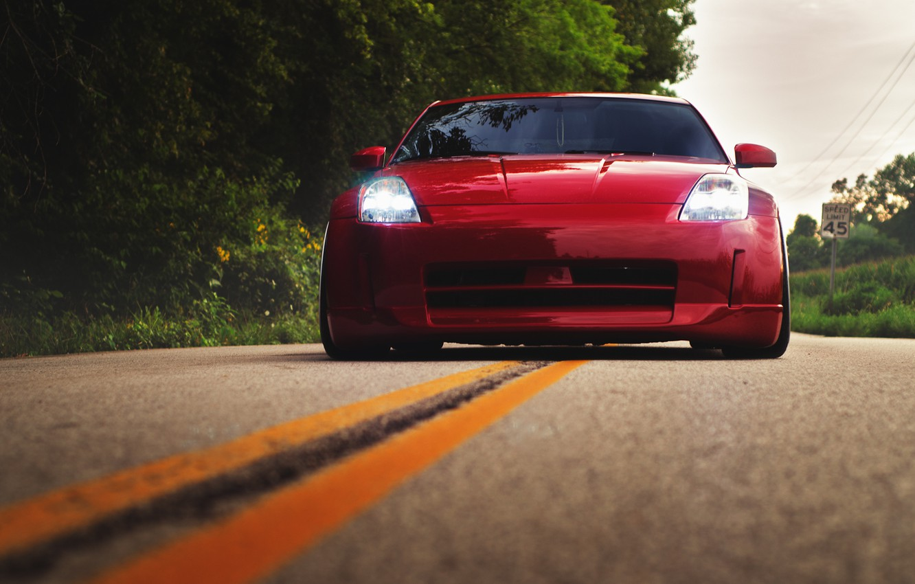 Photo wallpaper road, red, before, red, Nissan, Nissan, 350Z, stance