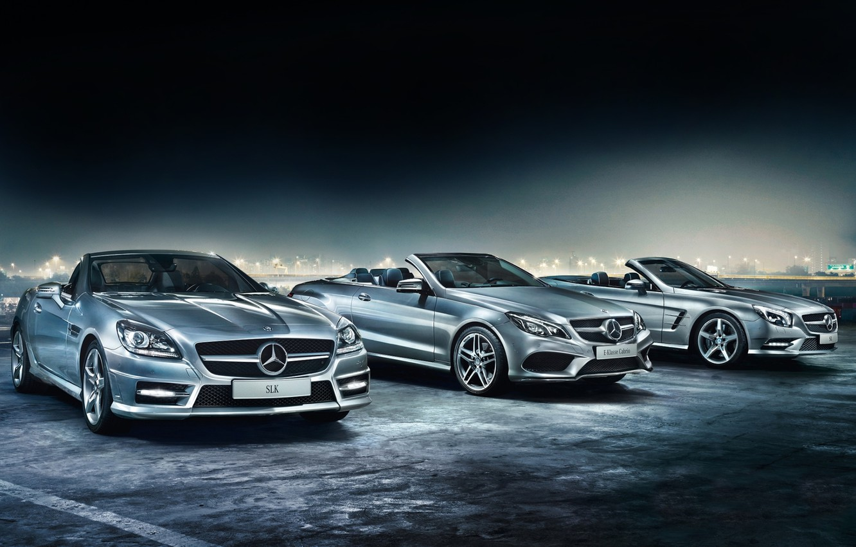 Photo wallpaper background, Mercedes-Benz, Mercedes, the front, Cabrio, E-Class, SLK, convertibles