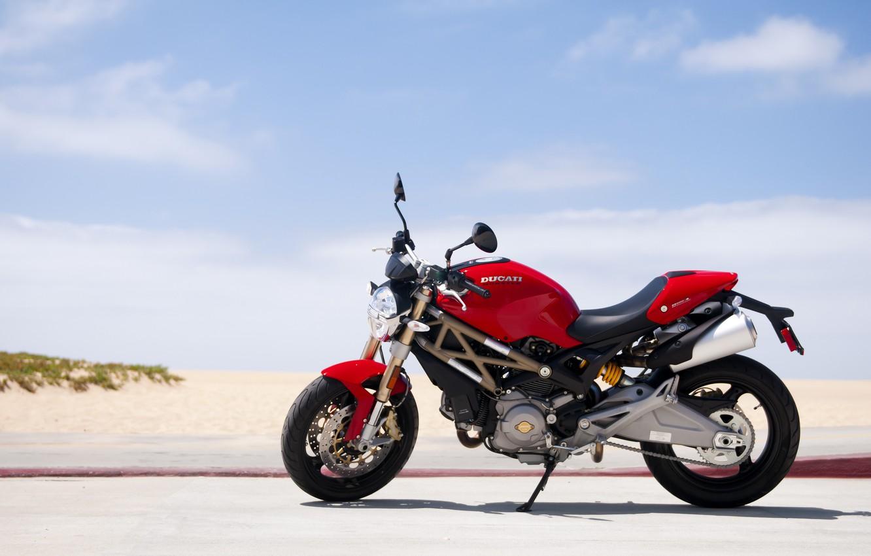 Photo wallpaper red, Ducati, Monster, beach, road, sky, 696