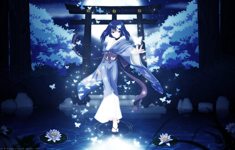 Photo wallpaper girl, trees, butterfly, night, nature, the moon, anime, art, kimono, cilou, hatou yumei, akai ito