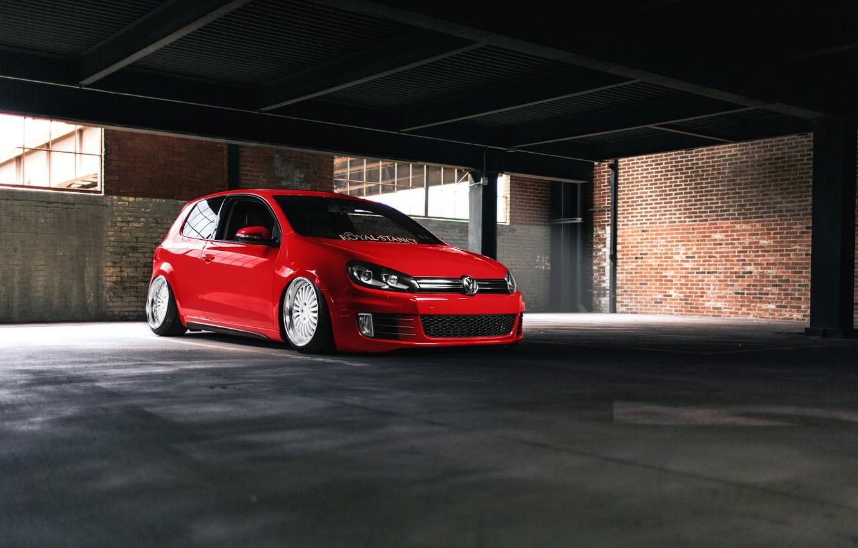 Photo wallpaper Volkswagen, red, GTI, mk6