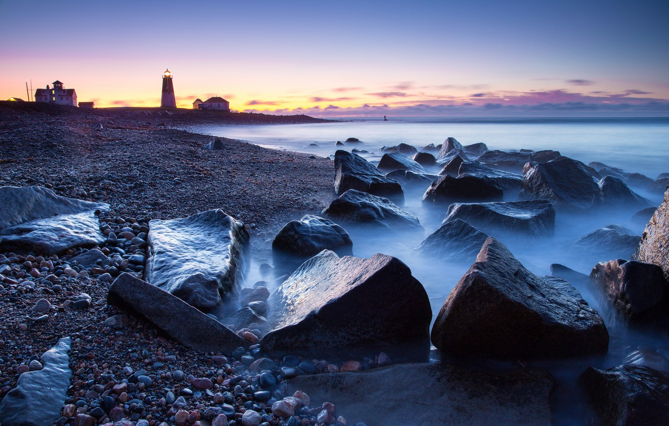 Photo wallpaper sea, the sky, stones, lighthouse, the evening
