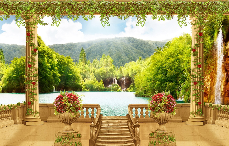 Photo wallpaper sea, flowers, waterfall, columns, terrace, vases
