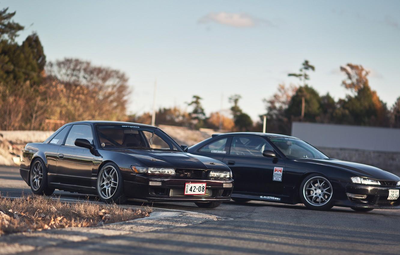Photo wallpaper auto, machine, black, Silvia, Nissan, car, black, auto, Nissan, Sylvia, s14, cars, S13