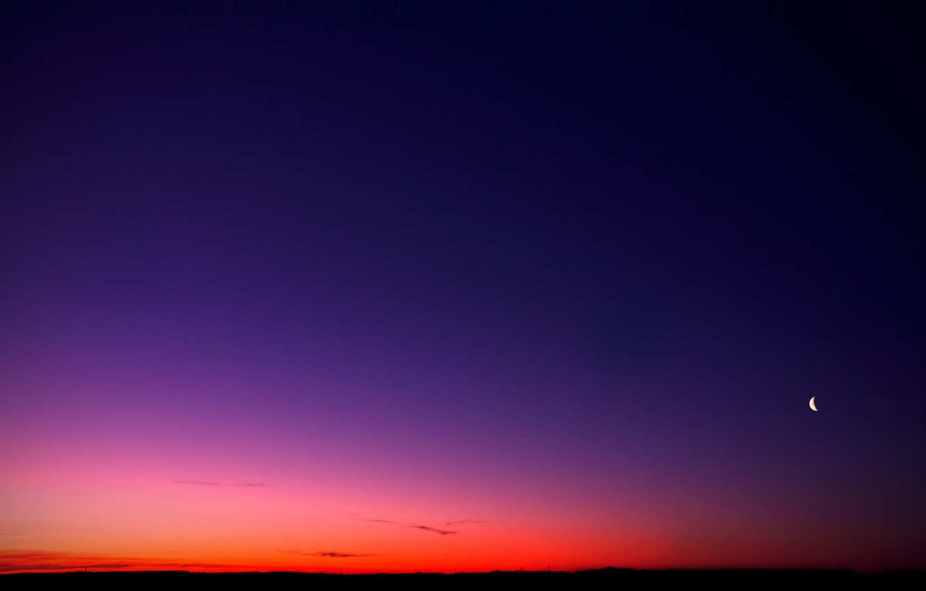 Photo wallpaper the sky, sunset, the moon, 152