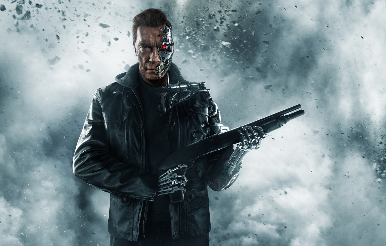 Photo wallpaper ash, weapons, fiction, smoke, robot, jacket, cyborg, shotgun, poster, Arnold Schwarzenegger, Terminator, Arnold Schwarzenegger, Terminator: …