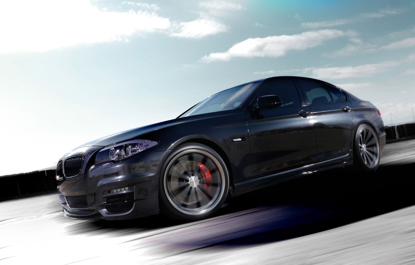 Photo wallpaper The sky, Clouds, Auto, Road, Tuning, Speed, Machine, BMW 5 series