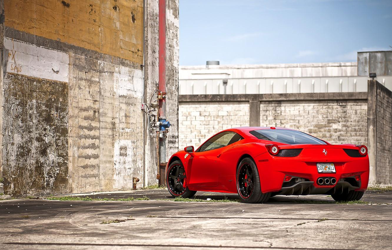 Photo wallpaper red, wall, the fence, pipe, red, wheels, ferrari, Ferrari, black, sky, Italy, clouds, 458 italia, …