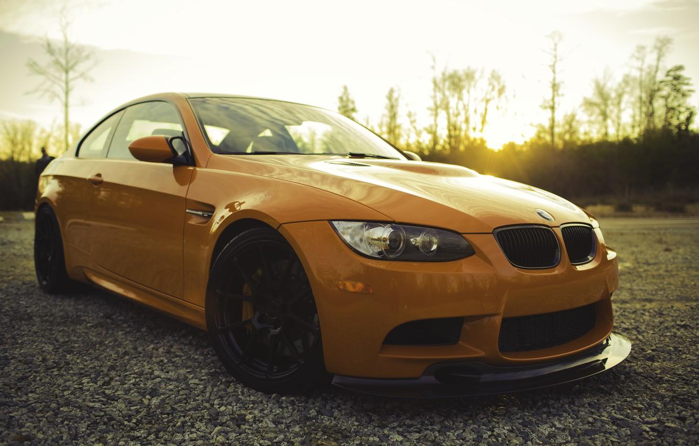 Photo wallpaper orange, reflection, BMW, BMW, front view, orange, e92