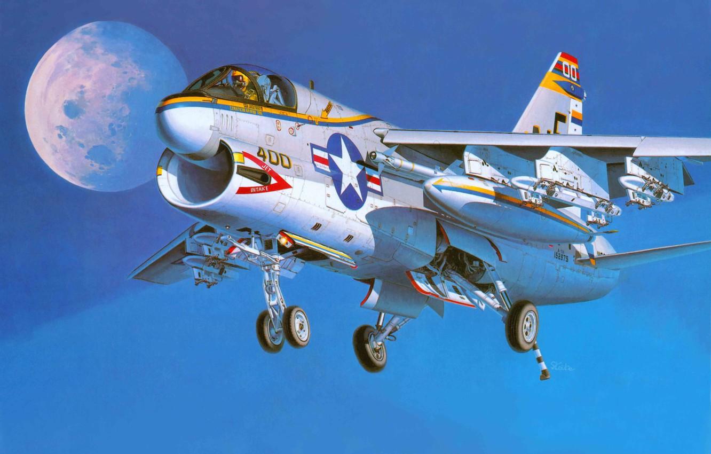 Photo wallpaper the plane, art, attack, Navy, deck, USA., Corsair II, A-7A, CORSAIR II