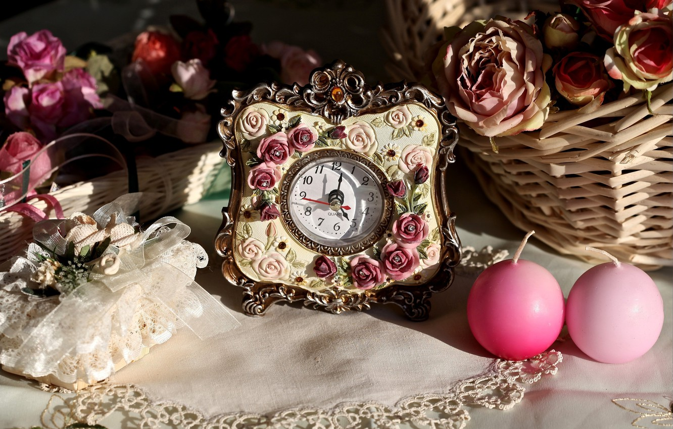 Photo wallpaper arrows, watch, roses, candles, figures, basket, candle