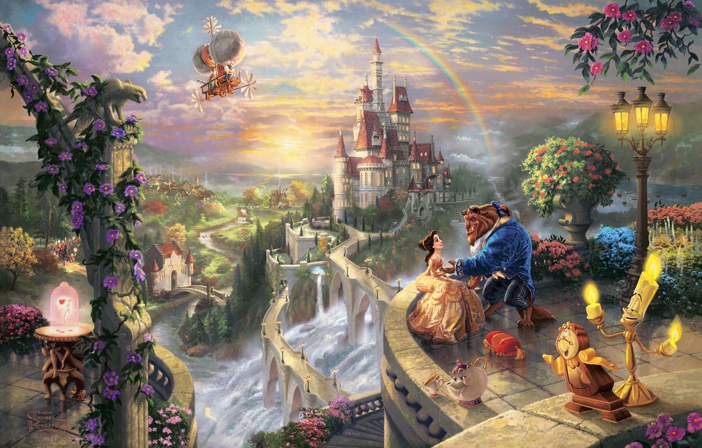 Photo wallpaper trees, love, sunset, flowers, bridge, castle, watch, waterfall, rainbow, candles, art, pair, lantern, rainbow, balcony, …